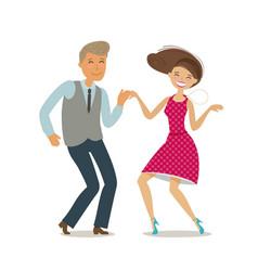 Happy couple dancing dance twist cartoon vector