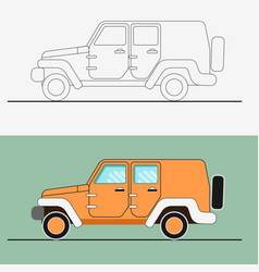 Jeep suv line art jeep vector