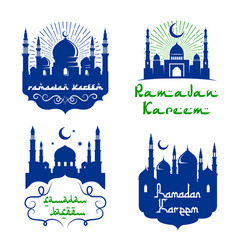 Mosque icons for ramadan kareem greetings vector