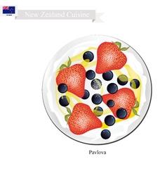New zealand dessert pavlova meringue cake vector