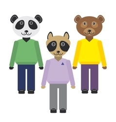 Panda raccoon bear animals set in trendy flat vector
