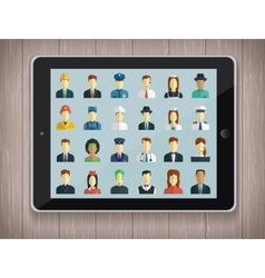 Professions flat icons with tablet pc vector