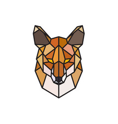 red fox polygonal head wild animal vector image vector image