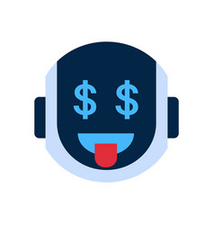 Robot face icon smiling face with dollar sign vector