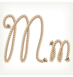 Rope alphabet Letter M vector image