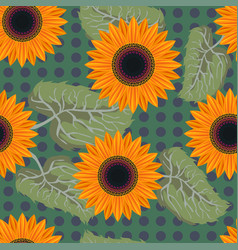 seamless pattern graphic sunflower vector image vector image