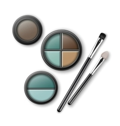 Set of blue brown ocher eye shadows with brushes vector