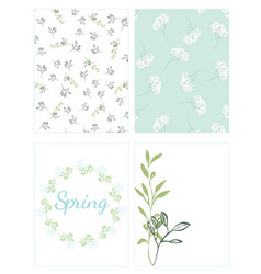 set of cards with natural motifs vector image vector image