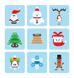set of christmas character vector image
