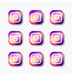 Simple camera icon set social media vector