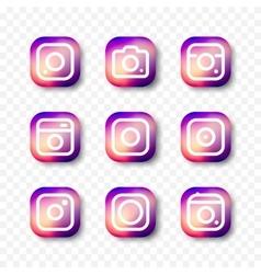 Simple camera icon set social media vector image vector image