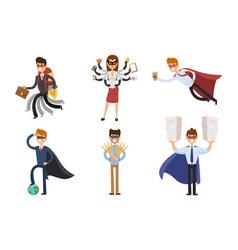 superhero business man woman vector image