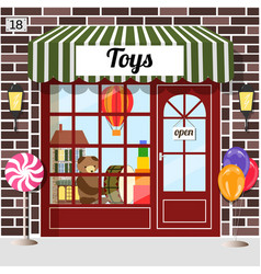 toys shop facade of brown brick vector image vector image