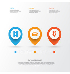 Transport icons set collection of cab way vector