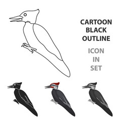 woodpecker icon in cartoon style isolated on white vector image