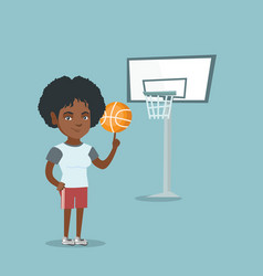 Young african basketball player spinning a ball vector