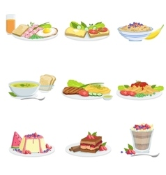European cuisine dish assortment menu items vector