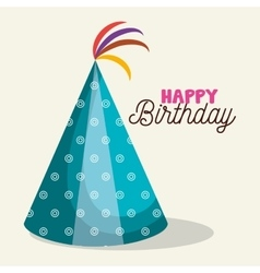 Hat blue happy birthday party graphic vector