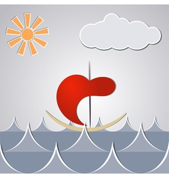Cartoon drawing little ship through the waves vector