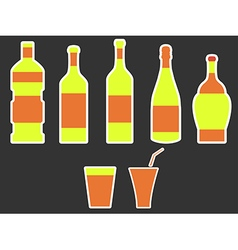Bottle with stroke glass with drinking straw vector image