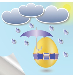 Easter egg with umbrella vector