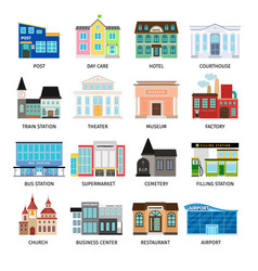 City buildings flat icons on white vector