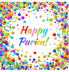 Purim text with colorful confetti frame background vector