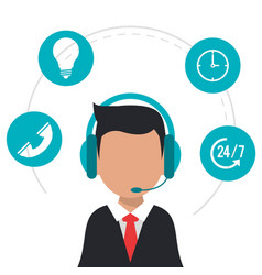 Character wearing headset call center icons vector