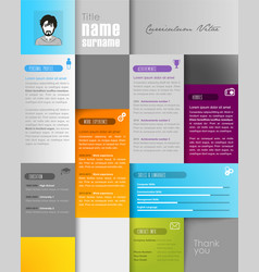 creative resume template with place for your photo vector image