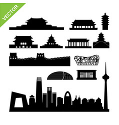 Beijing landmark and skyline silhouettes vector