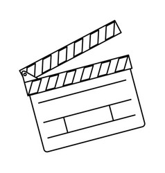 Line clapper board action video filmstrips vector