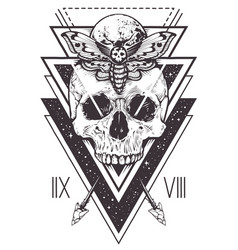 Skull sacred geometry design vector