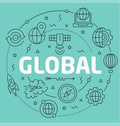 green line flat circle global vector image