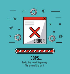 Blue background with window message error oops and vector
