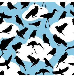 Seamless pattern with silhouettes birds on sky bac vector