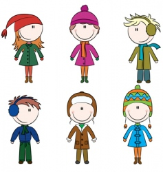 Winter kids vector
