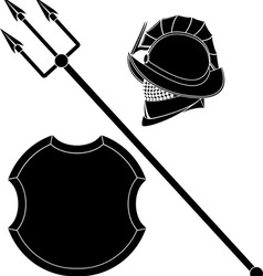 Gladiators helmet and trident with shield vector
