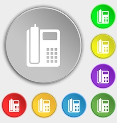 Home phone icon sign symbol on eight flat buttons vector