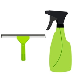Window squeege and spray bottle vector