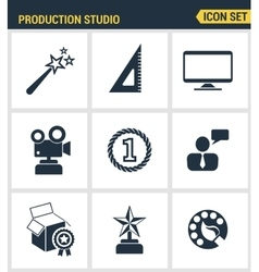 Icons set premium quality of content production vector
