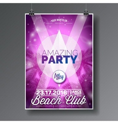 Summer beach party flyer design with palms vector