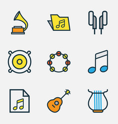 Audio colored outlines set collection of template vector