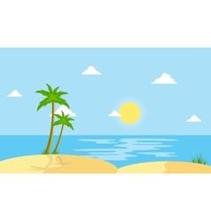 Beach scenery cartoon flat style vector image