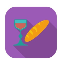 Bread and wine single icon vector image vector image
