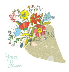 Bunch of flowers in the paper wrapping card vector