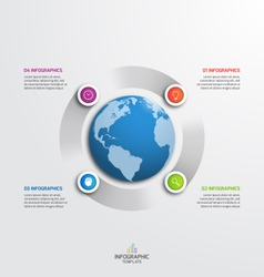 Circle infographic template with globe 4 options vector