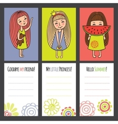 Colorful cards with funny girls vector image vector image