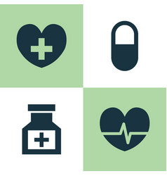 drug icons set collection of drug pellet heal vector image vector image