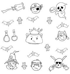 Element costume halloween in doodle vector