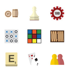 Flat icon games set of ace xo cube and other vector